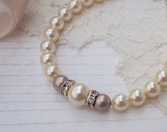 Pearl Bridal Bracelet, Ivory Pearl Bracelet, Blush Pink Wedding, Dusky Pink Bridesmaid Jewellery, Pink Bridal Jewellery, Bridesmaid Gift,