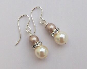 Bridal Earrings, Blush Pink Bridesmaid Earrings, Dusky Pink Bridal Jewellery, Bridesmaid Gift, Ivory Pearl Jewellery, Bridesmaid Jewellery,