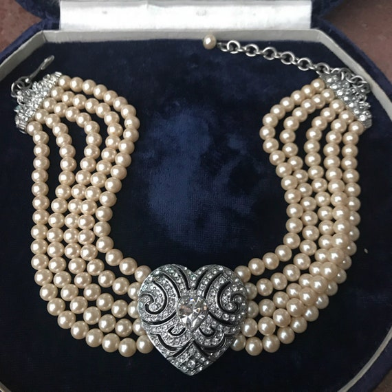 Princess Diana Style Vintage Signed faux Pearl and