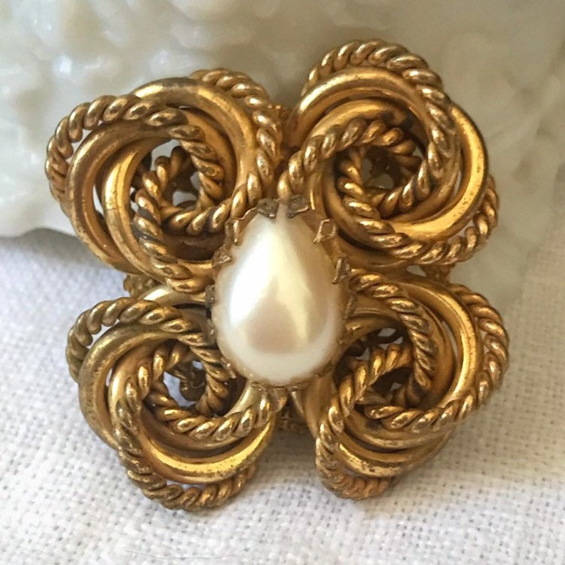 Miriam Haskell Art Deco Style Knotted Brooch and Earrings Set