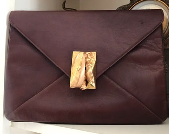 1960s Cherry Brown Harry Rosenfeld Clutch with Secret Strap