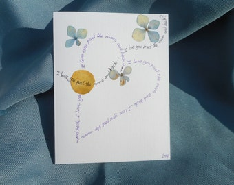 """Every day is a """"Valentine day"""". a card with a real rose's petal: """"I love You past the moon and back"""".    Handmade in the USA."""