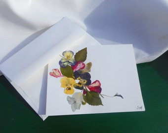 """Real pressed flowers on a Greetings Card.  """"Early in the Morning"""".  Original, handmade card, no message outside or inside."""