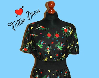 Tattoo Dress - Custom printed fabric!