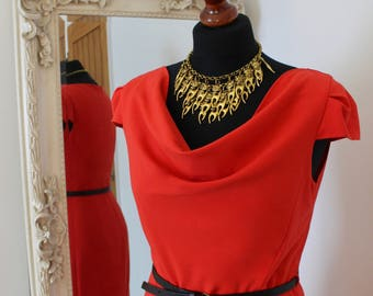 Red Pencil Wiggle Dress UK Size 10