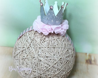 Pink and Silver Glitter Crown Headband, Silver Crown, Princess Headband, Birthday Headband,  Baby Crown Headband, Baby Headband