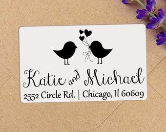 Custom Birds Clear or White Labels, Wedding Labels, Return Address Sticker, Wedding Sticker, Wedding Favors, Return Address Labels, Stamp