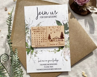 Camping Save the Date Magnet, Greenery Save the Date Card, Calendar Save the Date, Pine Save the Date, Wedding Favors, Wedding Invitation