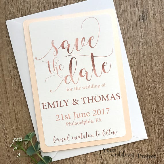 rose gold save the date card custom wedding save the date etsy