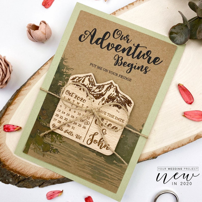 Mountain Save the Date Rustic Wooden Magnet Wedding Favors Calendar Save the Date Magnet Wood Save the Dates Wedding Invitation