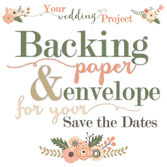 backing paper envelope for your own save the date magnets etsy