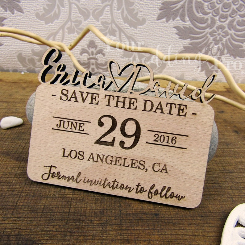 Wooden Magnet Wedding Favors Rustic Invitation Heart Save the Date Wood Floral Save the Date Laser Cut Save the Date Magnet