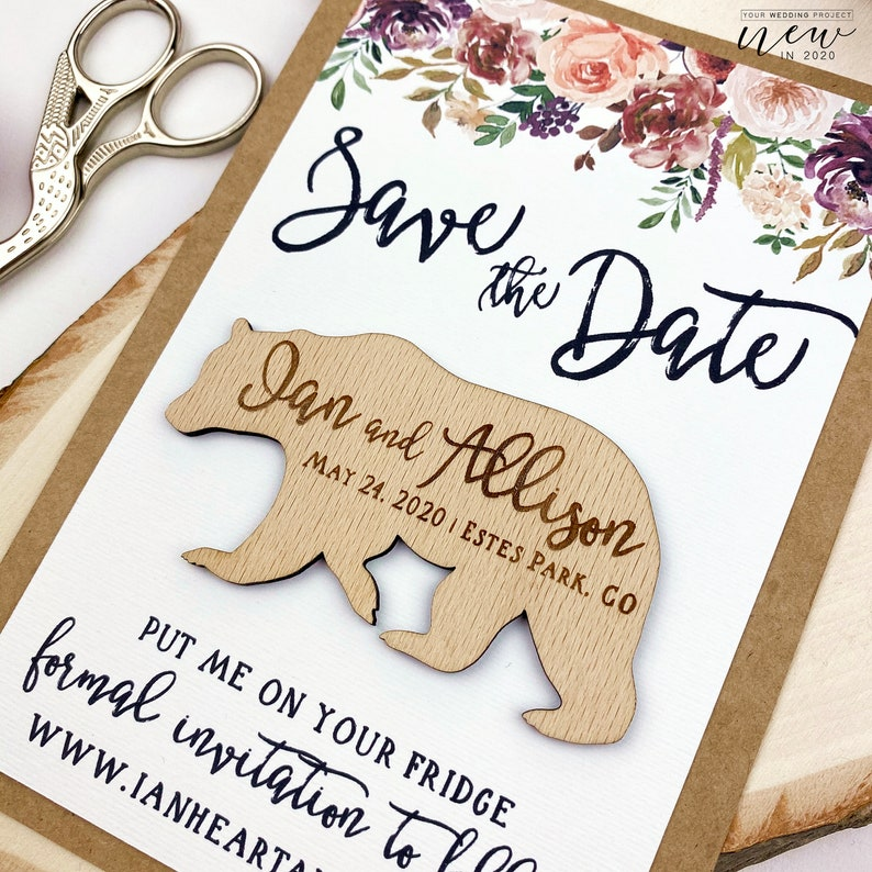 Custom Wedding Magnet Card Bear Magnet Burgundy Floral Save the Date Backing Card for your own Save the Date Magnet Wedding invitation