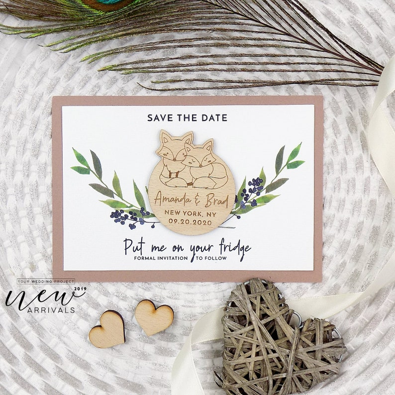 Custom Wedding Invitation Fox Save the Date Wood Save our Date Rustic Wooden Magnet Berries Save the Date Magnet Leaves Wedding Magnet