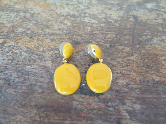 Yellow Earrings or Flash Vintage Bright Yellow Ear