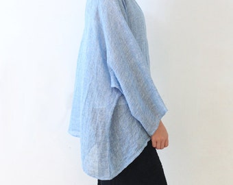 Linen Blouse Tunic,T Shirt Long Sleeve Shirt,Plus Size,Summer Tops,Light Blue
