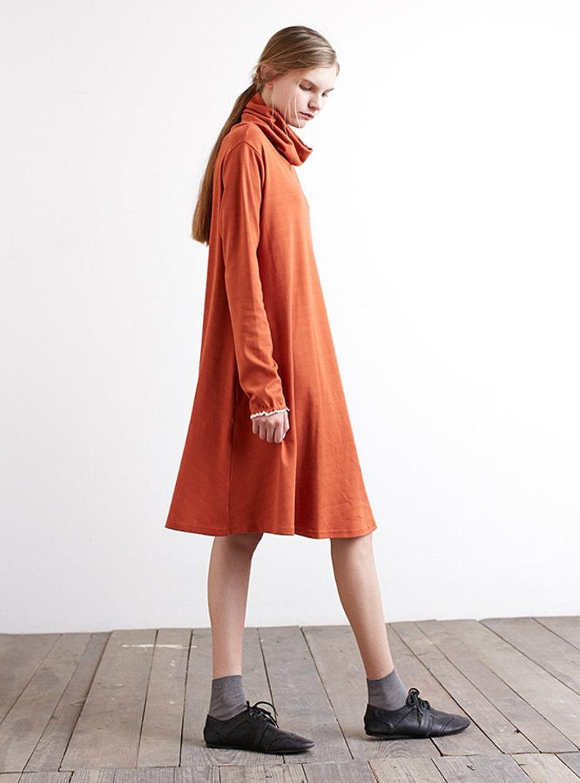 50a19e4508de Womens cotton dress long sleeve tunic midi dress pile collar | Etsy