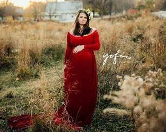Velvet Maternity Gown Maternity Dress Maternity Gowns Etsy