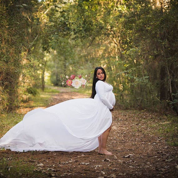 Maternity Dress Pregnancy Gown Maternity Gown White Etsy