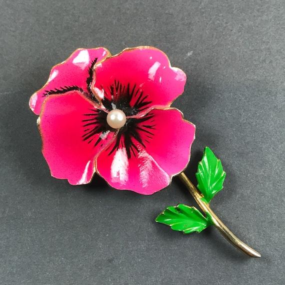 Vintage Pink Enamel Pansy Flower Pearl Pin Brooch - image 1