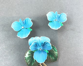 Vintage Blue Pansy Earring and Brooch Set