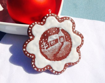Gingerbread Church Scene Christmas Cookie Ornament, White, Brown, Vanilla Icing, Faux Cookie, Fake Food, Winter Decoration, Holiday, Snow