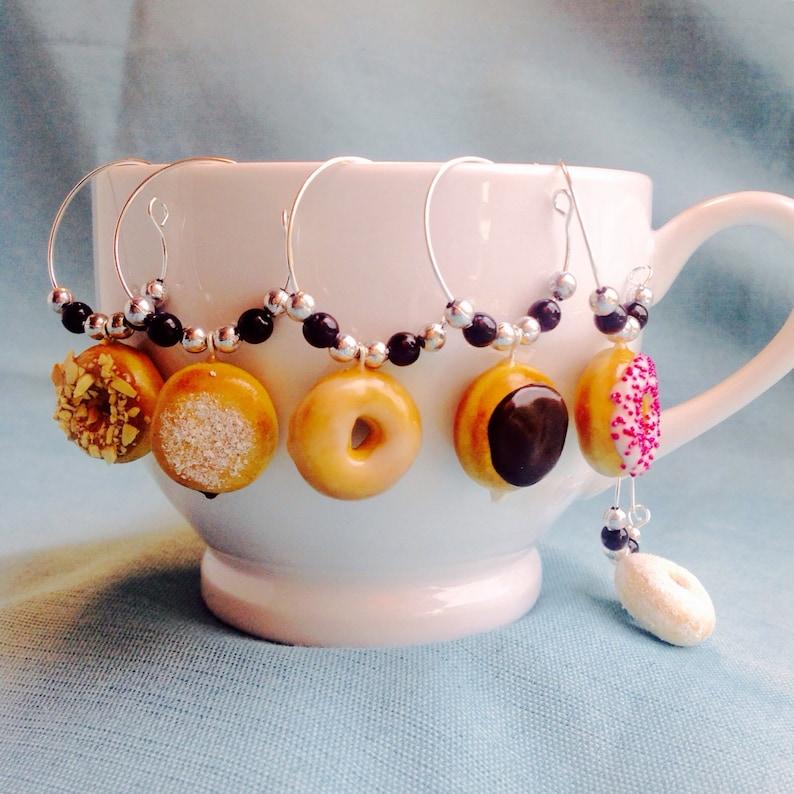 Donut Wine Charms Set Of 6 Coffee Mug Or Tea Cup Charms Etsy
