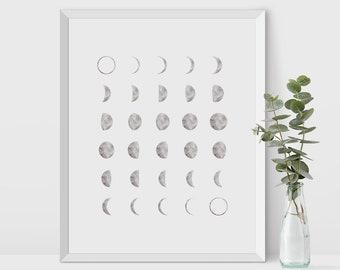 Lunar Phases, Moon print, watercolor moon, watercolor art print, Printable Art, moon calendar, moon wall prints, printable moon, lunar print