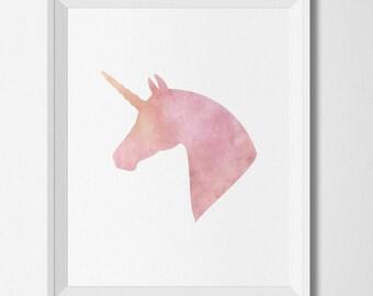 Unicorn printable, Unicorn Wall art, watercolor print, baby girl nursery, modern decor, nursery art print, watercolor unicorn, nursery decor