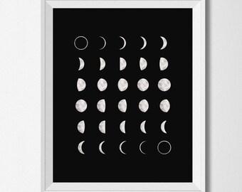 Moon Phases printable, watercolor moon, black and white moon, Printable Art, black moon print, black wall prints, moon calendar, lunar print