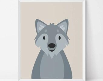 Wolf Printable, Wolf Nursery art, Wolf wall art, Woodland Nursery, peekaboo wolf, wolf print, wolf poster, Boys room decor, Woodland animal