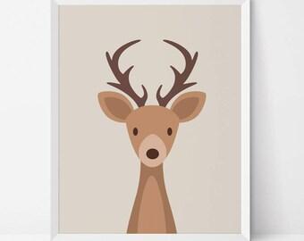 Deer printable, Deer Nursery printable, antlers print, woodland nursery Decor, deer wall art, nursery deer wall art, woodland prints