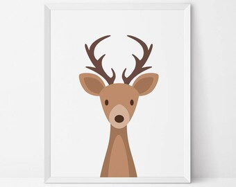 Woodland animal Deer printable, Woodland nursery art, Nursery decor, antler baby room, Woodland kid decor, woodland baby shower, deer art