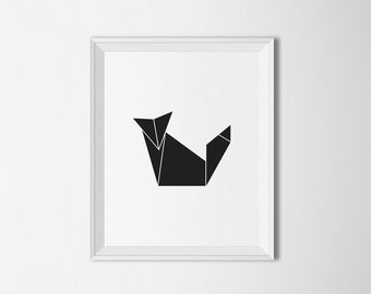 Geometric Fox Art Origami Print Black And White Modern Wall Instant Download Prints