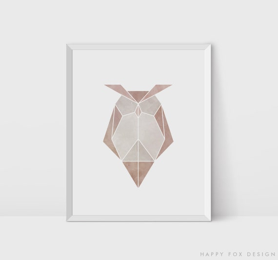 Origami Owl Bird Art Geometric Print Watercolor