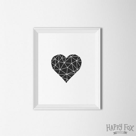 Geometrische Herz schwarz und weiß Dekor Herz Printable   Etsy
