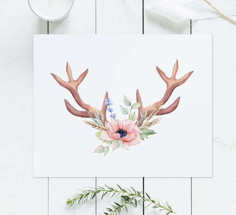 photo relating to Printable Deer Antlers titled Deer antlers printable artwork, Floral Antlers print, Boho wall artwork, Boho nursery, Tribal Nursery printable, Watercolor bouquets, wild spirit artwork