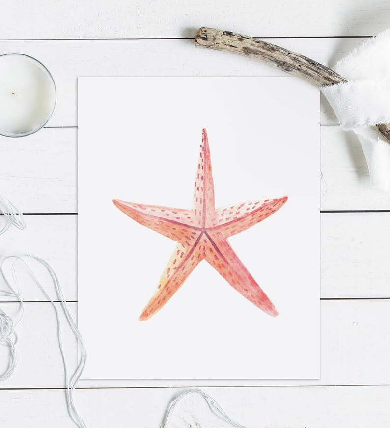 photograph about Printable Starfish known as Watercolor starfish printable, Starfish print, Watercolor nursery, Seashore wall artwork, Watercolor prints, Nautical artwork Ocean wall decor down load