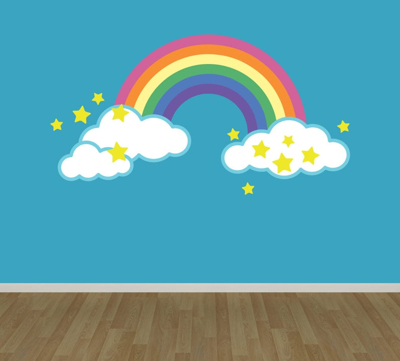 rainbow wall decal reusable fabric decal rainbow with clouds | etsy
