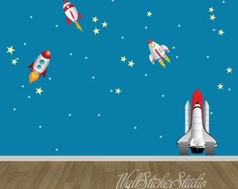 Rockets Wall Decals, Rocket Space Wall Decal Stickers, Reusable Wall Decal