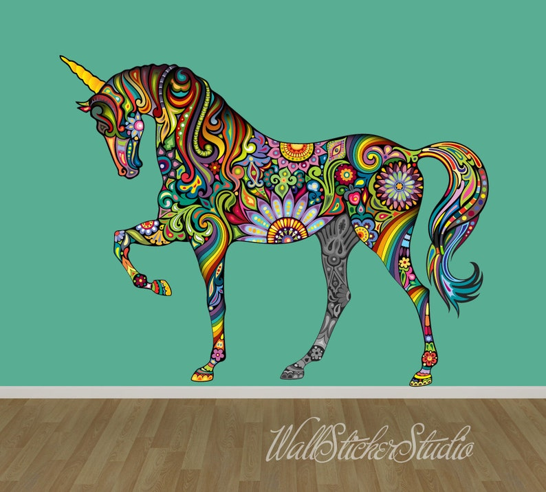 Reusable Wall Decal Pattern Horse Fabric Wall Decal Stickers Unicorn Wall Decal