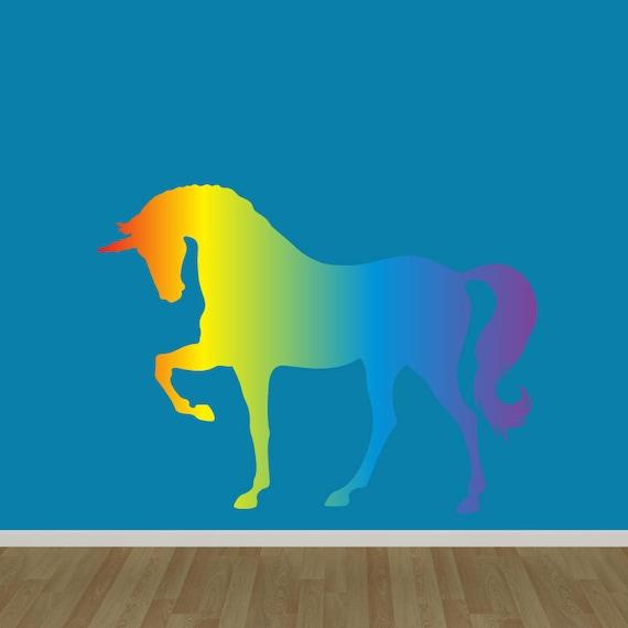unicorn wall decal rainbow unicorn wall decal stickers | etsy