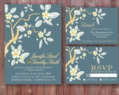 Dark Blue and Gold Cherry Blossom Wedding Invitation Set, RSVP Card, Details Card, Custom Digital Printable