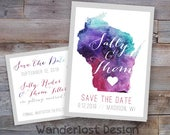 Custom Watercolor YOUR STATE Outline // Save the Date Card // Postcard Printable Digital File Design