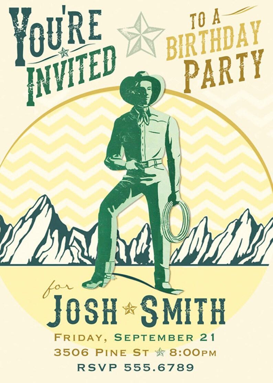 Custom Invite Cowboy Modern Western Birthday Invitation Digital Download Printable Card