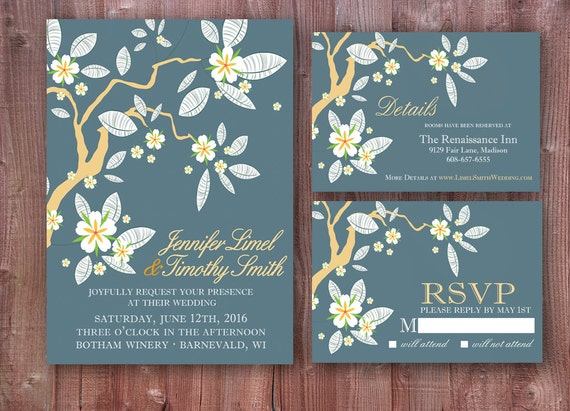 Dark Blue Wedding Invitations: Dark Blue And Gold Cherry Blossom Wedding Invitation Set