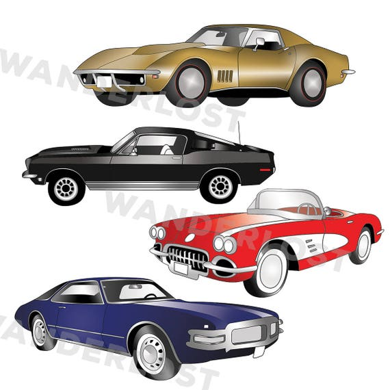 Immediate Download Clip Art Vintage Muscle Cars Color And Etsy