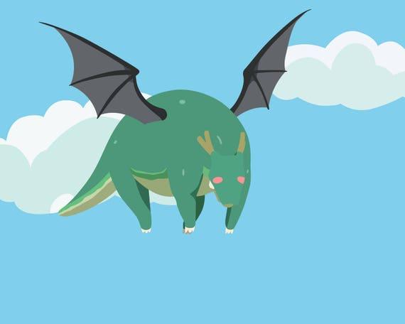 tohru dragon form print etsy