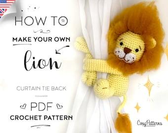 Lion curtain tie back crochet PATTERN, left or right side crochet pattern PDF instant download tieback amigurumi pattern
