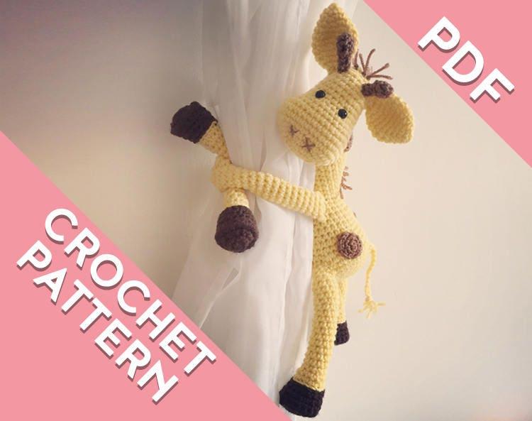 Giraffe curtain tie back crochet PATTERN tieback left or ... - photo#38